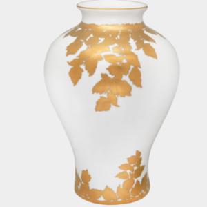 """Golden Leaf White Vase"""
