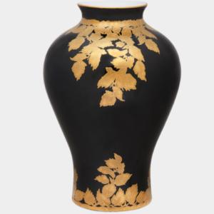 Golden Leaf Black Vase