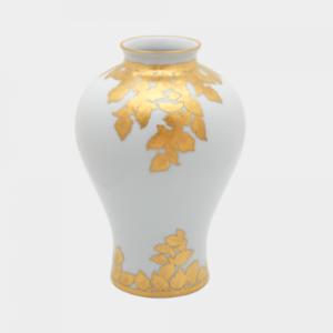 Gold Leaf Small White Vase