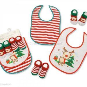 Baby Christmas Bibs and Socks 4 Pieces