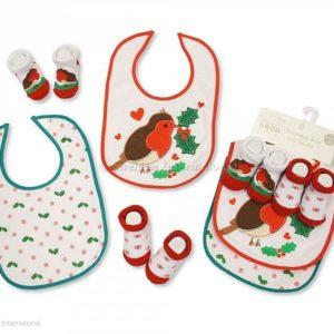 Baby Christmas Bibs and Socks 4 pcs