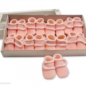 Baby Booties with Button Closure - Pink