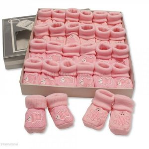 Baby Booties with Embroidery - Tortoise/ Fish - Pink