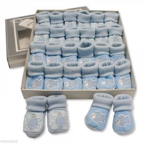 Baby Booties with Embroidery - Tortoise/ Fish - Sky