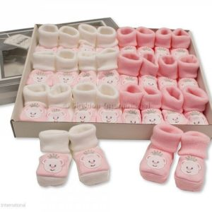 Baby Booties with Embroidery - Princess