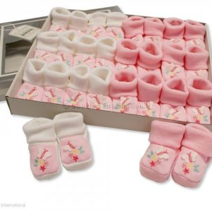 Baby Booties with Embroidery - Butterfly