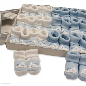 Baby Booties with Embroidery - Teddy