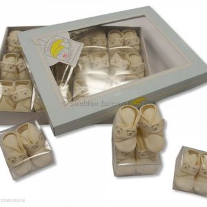 Baby Booties with Embroidery - Cream